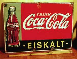 Coca Cola Werbe Blechschild Der 1930er Jahre   Elegante Für Bar U0026 Küche