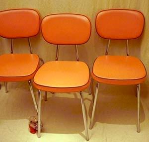 Küchenstühle auf Chromgestell der 60 70er