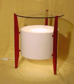 leuchtender teak beistelltisch der 60er jahre. Black Bedroom Furniture Sets. Home Design Ideas